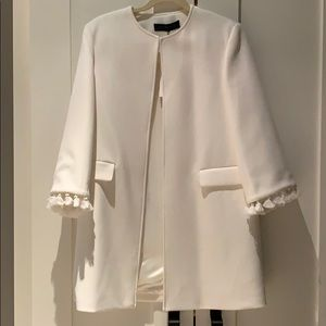 NWT Zara White Coat with Tassel Sleeves